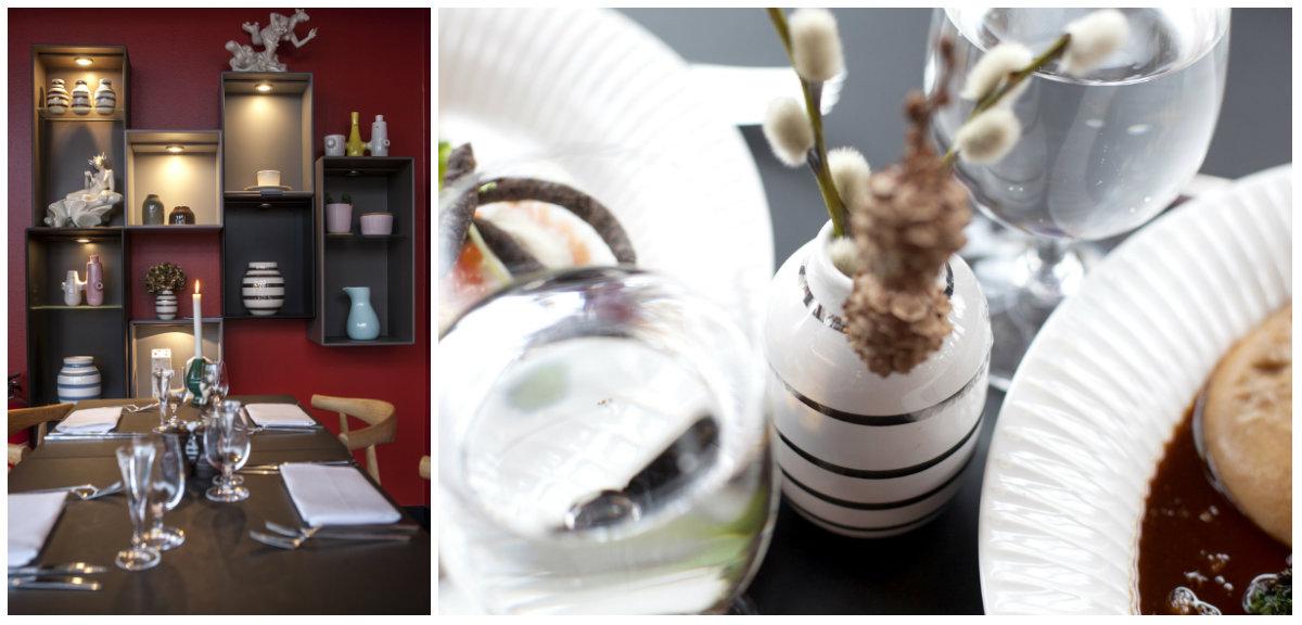 De ikoniske Kähler-vasene finner man igjen i hele restauranten.