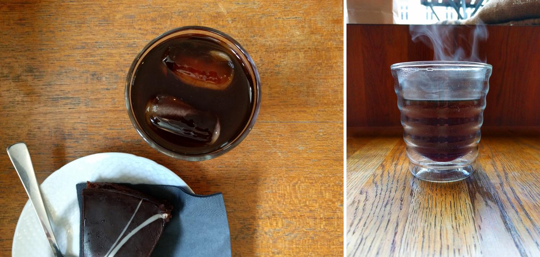 Kaldbrygg og kake til venstre, siphon-kaffe i munnblåst glass til høyre.